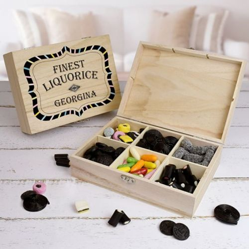 Personalised Finest Liquorice Wooden Sweet Box